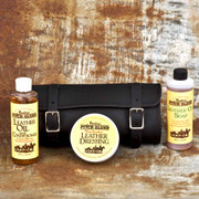 The Small Tool Bag Gift Set includes the Leather Tool Bag and Montana Pitch Blend Leather Care Kit.