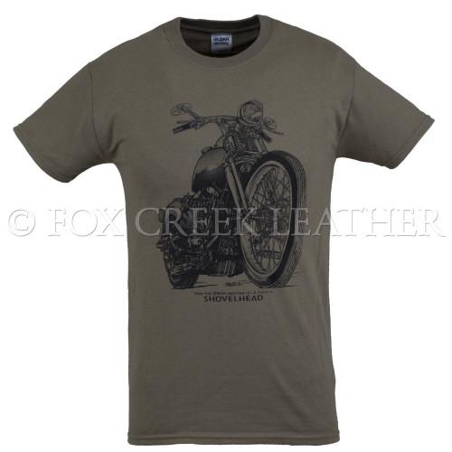 Fox Creek Classic Design Tshirt - Olive Shovelhead front