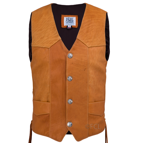 Front view of the Buffalo Leather Vest (shown with Buffalo Nickel snaps)