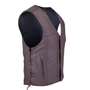 Side view of the brown leather vest with black liner