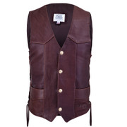 Front view of the Chocolate Buffalo  Classic Vest (shown with Authentic US Minted Indian Penny snaps)