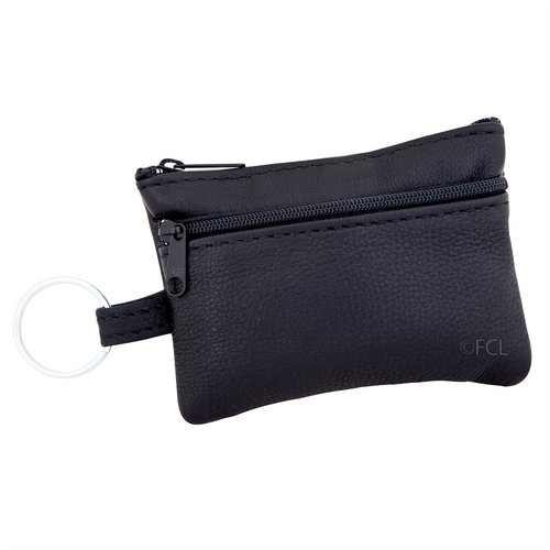 Front view of the Cowhide Leather Change Purse in black