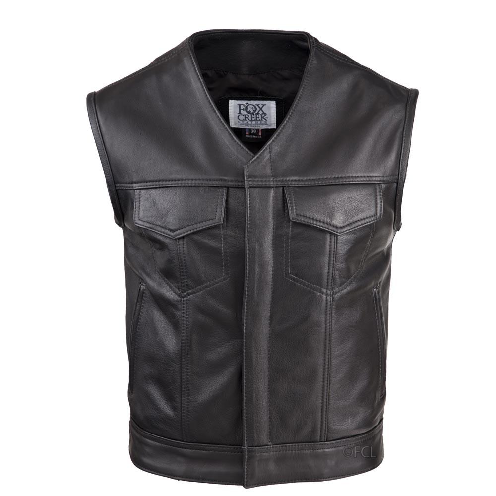 3405c7df4 Men's V-Neck Leather Rebel Vest - Fox Creek Leather
