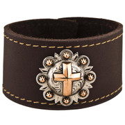 Copper Cross Leather Cuff Bracelet