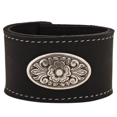 Diablo concho on our leather cuff bracelet in black