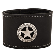 Leather Cuff bracelet with star concho with engraved border