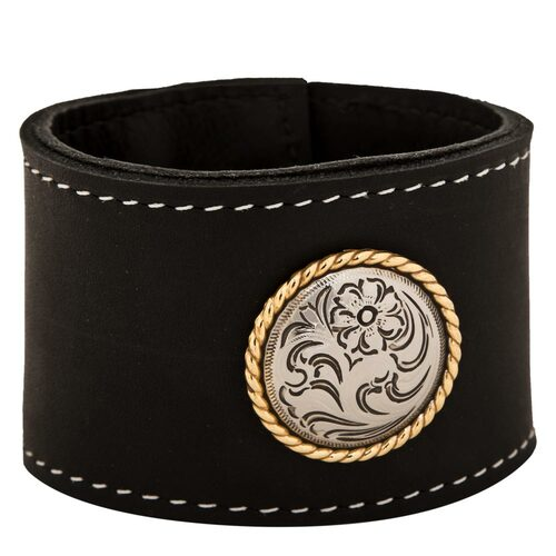 "Black cuff leather bracelet 2"" wide with large rose gold rope concho"