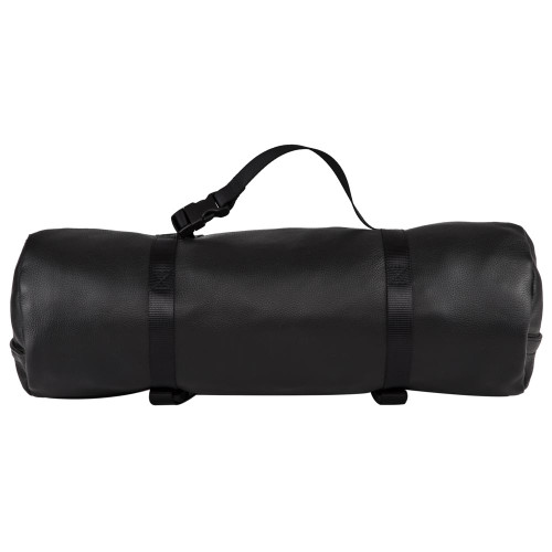 Nylon strap can be used as a handle on this travel bag.