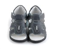 Boys blue genuine leather sandal front.