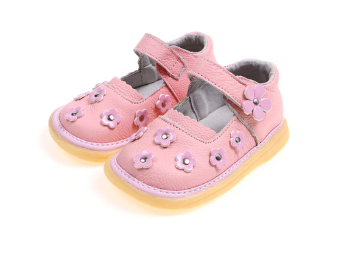 Pink Genuine Leather Mary Jane Shoe with Pink Flowers.