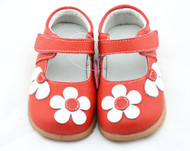 Girls Red Mary Jane Shoe with White Flowers.