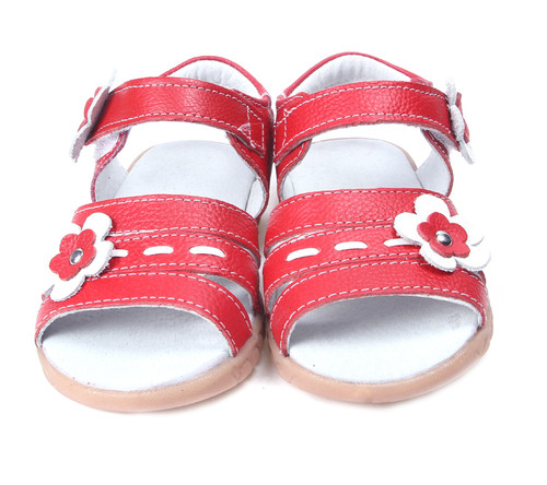 Girls Red Genuine Leather Open Sandal from front.