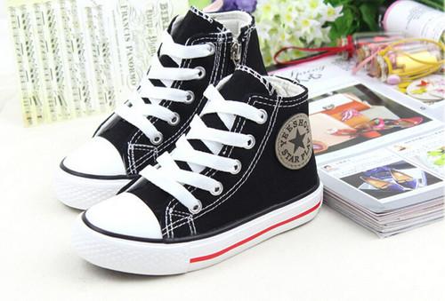 Black Converse style, canvas shoe.