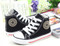 Black Converse style, canvas shoe different angles