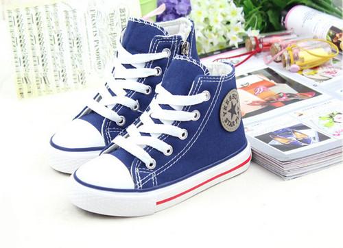 Blue Converse style, canvas shoe.