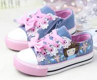 Pink & Light Blue canvas shoe.