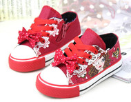 Red canvas shoe.