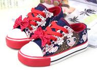 Blue & Red canvas shoe.