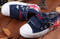 Navy Blue Canvas shoe with flag different angles.