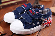 Navy Blue Canvas shoe with flag.