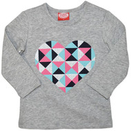Girls Long Sleeve Tshirt - Grey with Retro coloured heart.