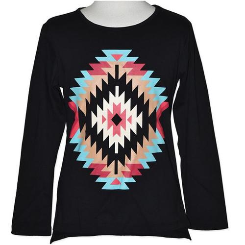 Girls Long Sleeve Top, Black with Aztec Design.