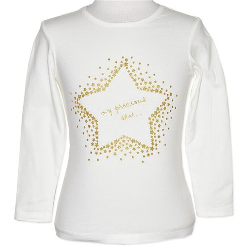 Baby Girl White Long Sleeve Top with Gold Star.