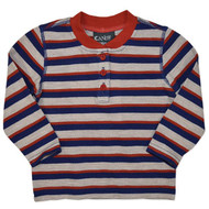 Baby Boys Long Sleeve Orange, Blue and Brown Stripe.
