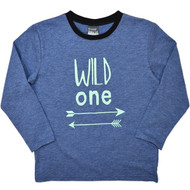 "Blue Long Sleeve Shirt for Boys with ""Wild One""."
