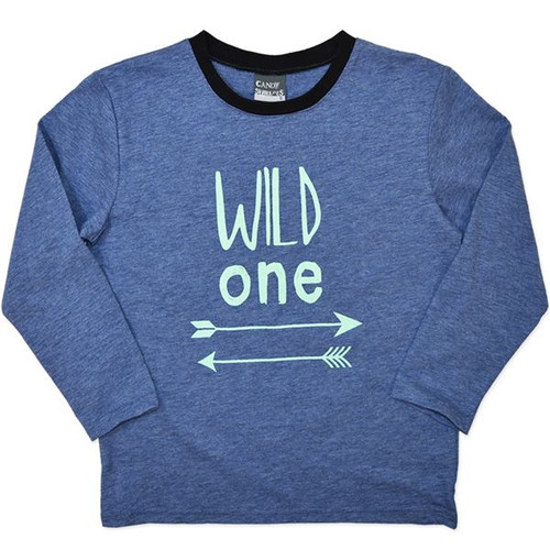 """Blue Long Sleeve Shirt for Boys with """"Wild One""""."""