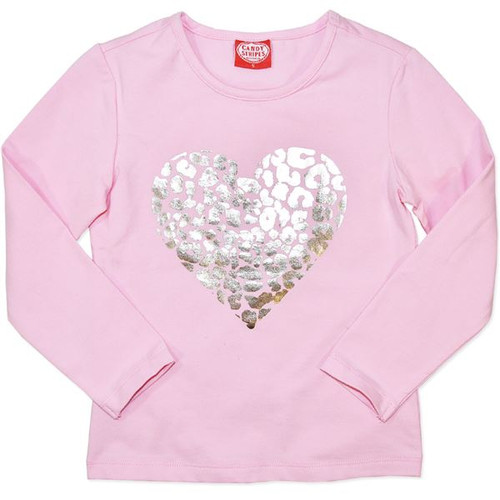 Girls Pink Long Sleeve Tshirt with Gold Heart.