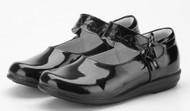 Girls black leather school shoe bow on strap.