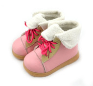Girls Pink Leather Boots with Fur Lining.