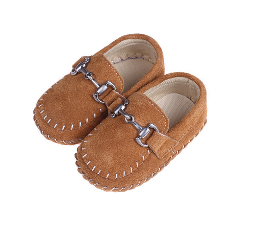 Baby Boy Moccasin - Brown Soft Sole Shoe.