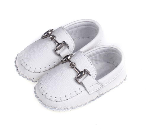 Baby Moccasin - white Soft Sole Shoe.