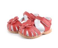 Toddler Girls Red Genuine Leather Sandal.