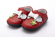 Baby Girl  Red Soft Soled Shoe with white bow.