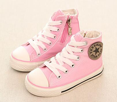 Pink Converse style, canvas shoe.