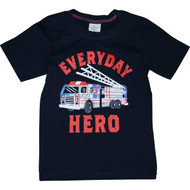 Boys Black Firetruck T-Shirt.