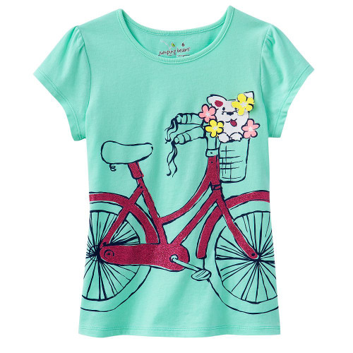 Girls Mint Green 'Bicycle' Tshirt.