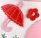 Pink & White Fur Ugg Boots close up umbrella