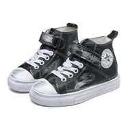 Black Leather Converse style shoe.