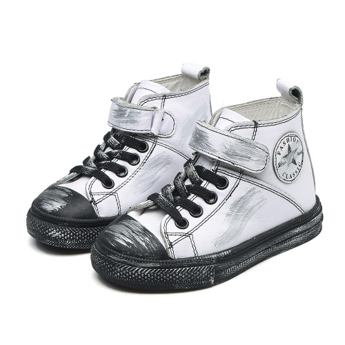 White Leather Converse style shoe.