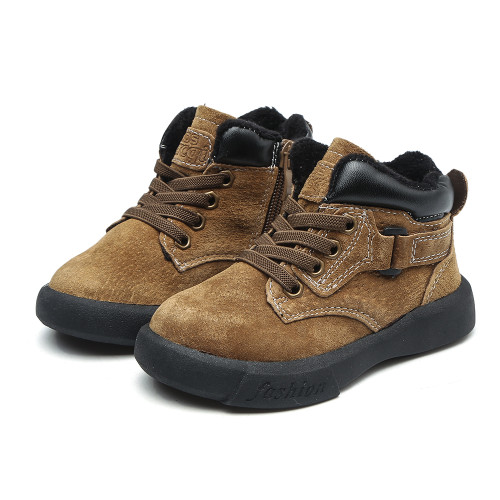 Boys Khaki Brown Leather Boots.