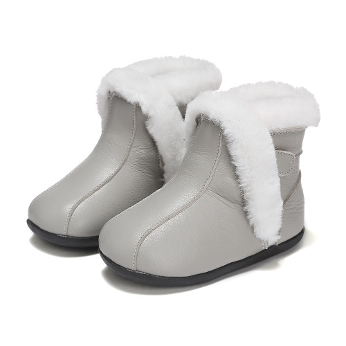 Grey Leather Fur Ugg Boots