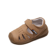 Toddler boys camel closed toe leather sandal.