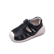 Toddler boys navy closed toe leather sandal.