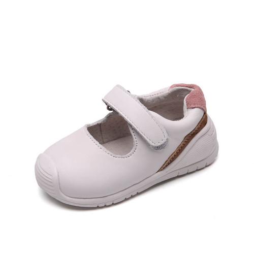 Toddler girls white leather sneaker shoe - single.
