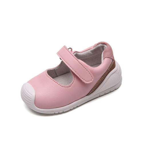 Toddler girls pink leather sneaker shoe - single.