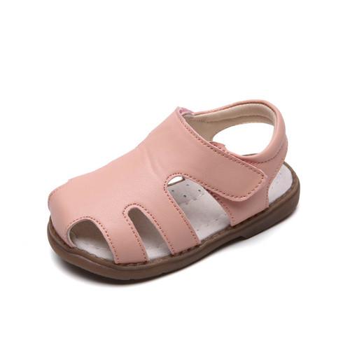 Toddler girls pink closed leather sandal - single.